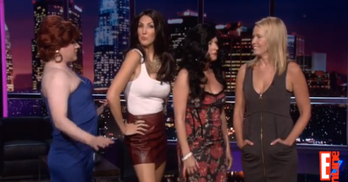 (From left to right) Brad Wollack as Caroline Manzo, Heather McDonald as Danielle Staub, Sarah Colonna as Teresa Giudice, and Chelsea Handler)